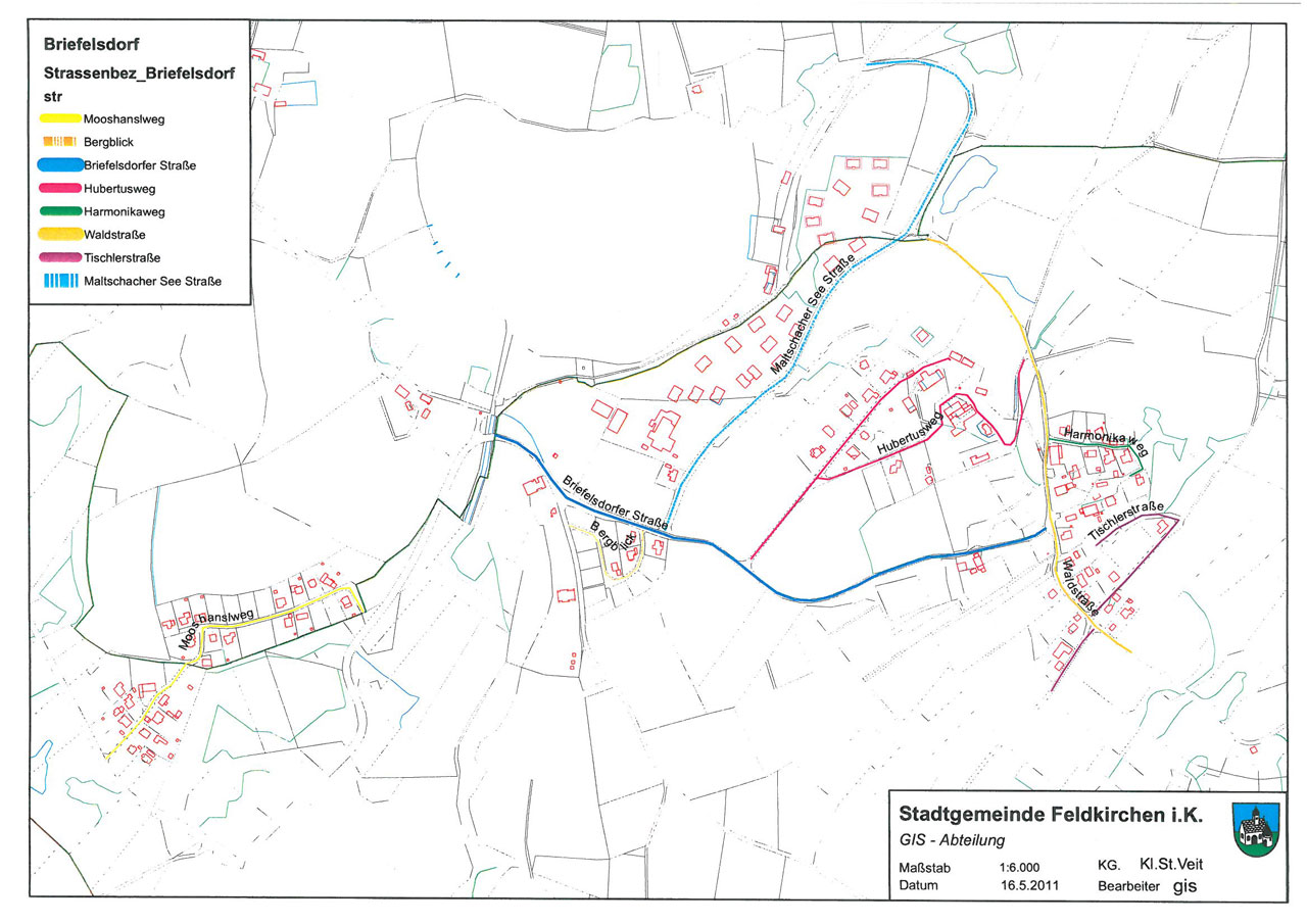 Planliche Darstellung der Straßenbezeichnungen in Briefelsdorf