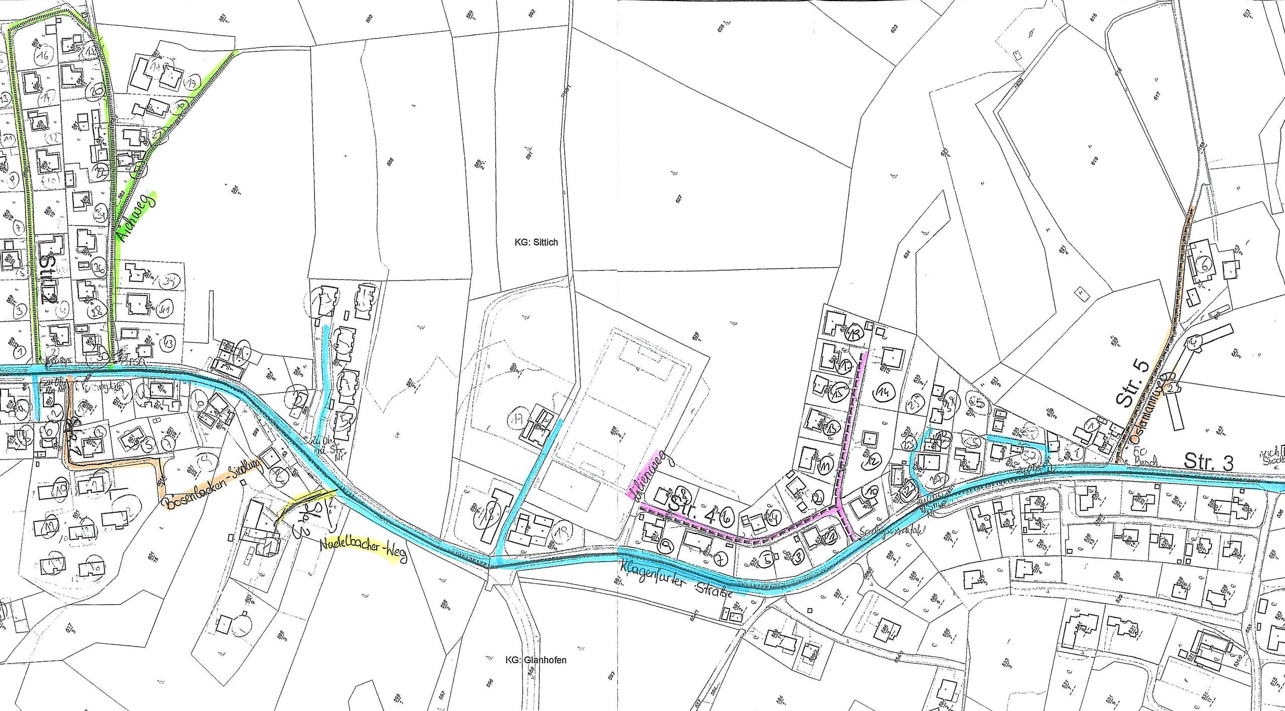 Lageplan zum Verlauf der einzelnen Straßen