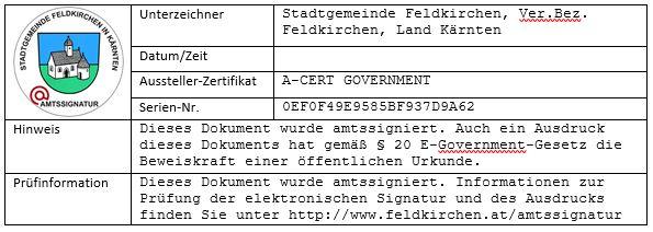 Darstellung der Amtssignatur der Stadtgemeinde Feldkirchen in Kärnten