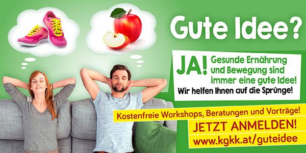 Banner Gesunde Ernährung und Bewegung - gute Idee; Copyright by Kärntner Gebietskrankenkasse
