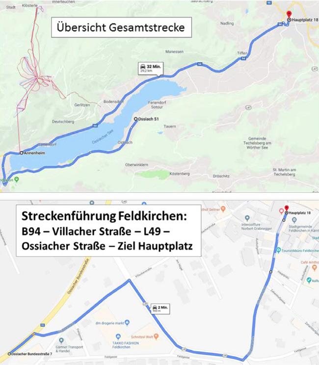 Übersicht Gesamtstrecke und Streckenführung in der Feldkirchner Innenstadt