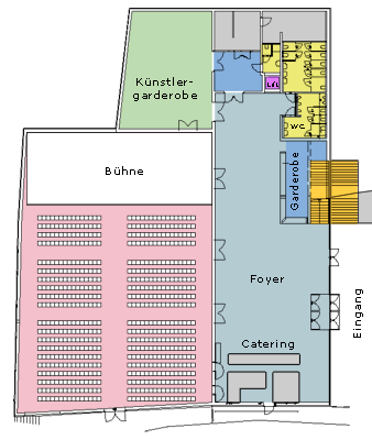 Skizze des Stadtsaales und seiner Raumaufteilung